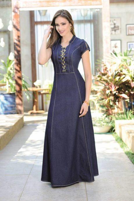 6 460x691 - VESTIDO JEANS modelitos da moda super elegantes