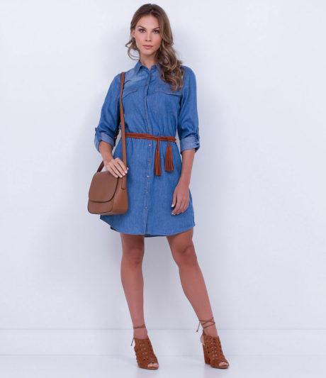 como usar vestido jeans 460x533 - VESTIDO JEANS modelitos da moda super elegantes