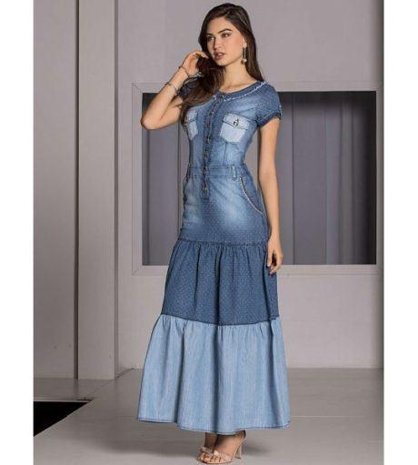 como usar vestido jeans longo 460x511 - VESTIDO JEANS modelitos da moda super elegantes