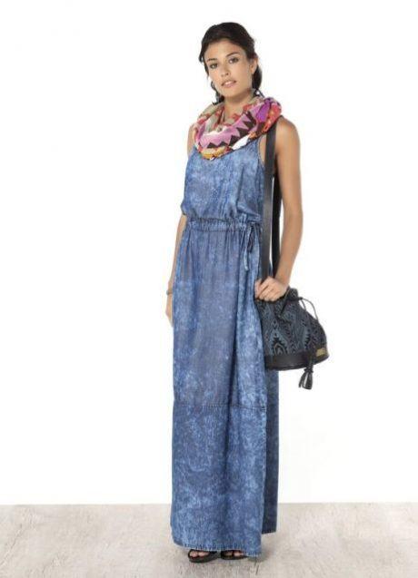 vestido jeans longo 460x637 - VESTIDO JEANS modelitos da moda super elegantes