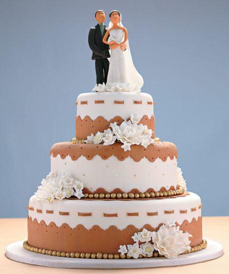 bolo de casamento com noivinhos 2 460x550 - BOLO DE CASAMENTO com noivinhos divertidos estilos