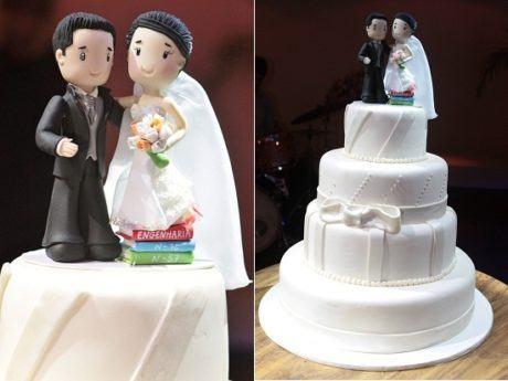 bolo de casamento com noivinhos 4 460x345 - BOLO DE CASAMENTO com noivinhos divertidos estilos