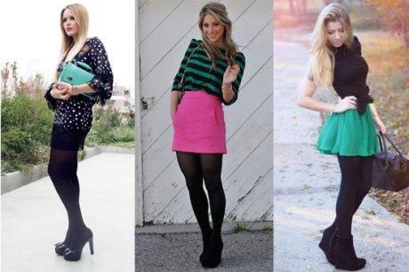 imagem 14 1 460x307 - LOOKS COM MEIA CALÇA : Com Saia, Vestido ou shorts (Moda Inverno)