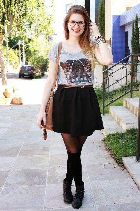 imagem 15 2 460x690 - LOOKS COM MEIA CALÇA : Com Saia, Vestido ou shorts (Moda Inverno)
