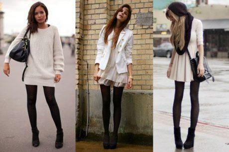imagem 25 1 460x307 - LOOKS COM MEIA CALÇA : Com Saia, Vestido ou shorts (Moda Inverno)
