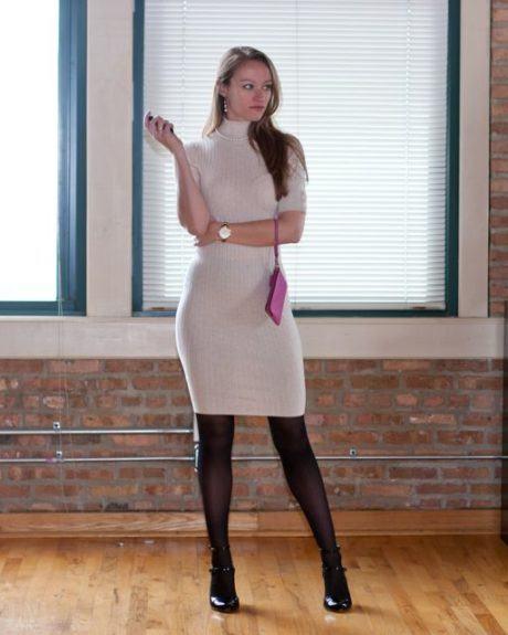 imagem 26 1 460x575 - LOOKS COM MEIA CALÇA : Com Saia, Vestido ou shorts (Moda Inverno)