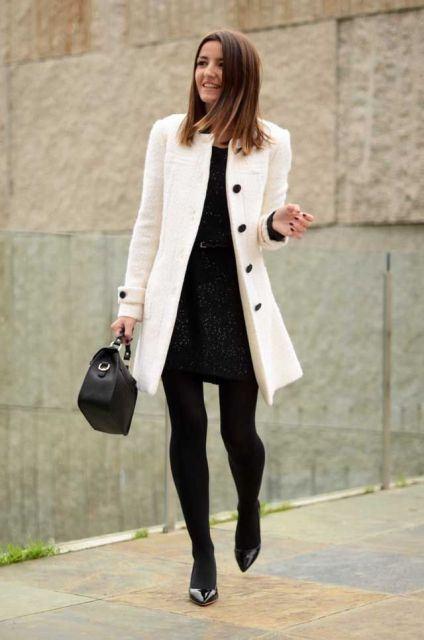 imagem 27 1 - LOOKS COM MEIA CALÇA : Com Saia, Vestido ou shorts (Moda Inverno)