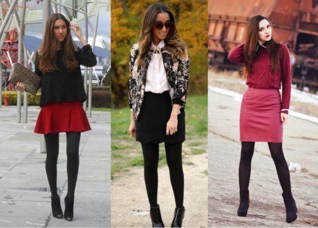 meia calca e saia 460x330 - LOOKS COM MEIA CALÇA : Com Saia, Vestido ou shorts (Moda Inverno)