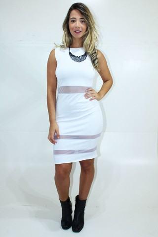 vestido branco detalhe em tule - Vestidos com detalhes em tule: Modelos com renda, estampados e mais