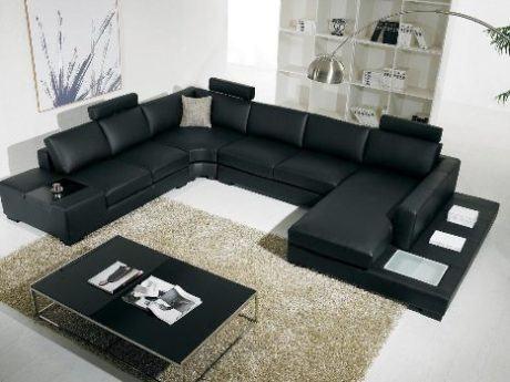 sofa em L de couro 460x345 - SOFÁS DE COURO ; Várias cores e estilos para sala de estar