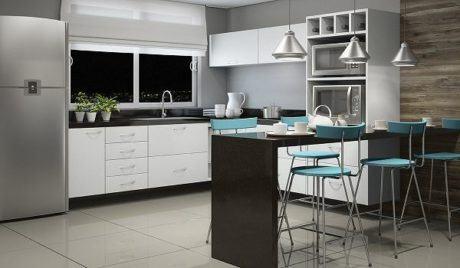cozinha planejada com balc%C3%A3o em L 460x268 - COZINHA PLANEJADA COM BALCÃO 30 formas de decorar