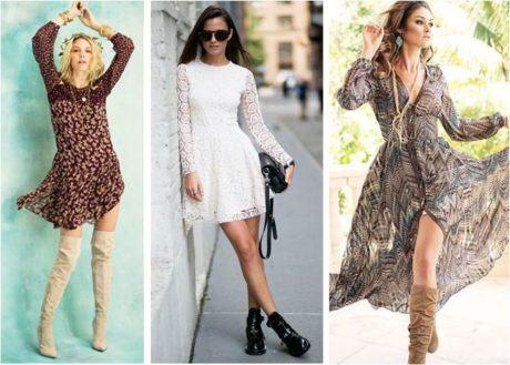 looks em vestidos para usar com botas 460x329 - VESTIDOS PARA USAR COM BOTAS modelos outono inverno