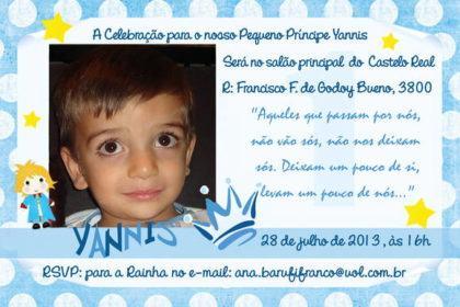 convite de aniversario de 1 ano pequeno principe