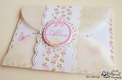convite envelope vegetal floral provençal jardim para aniversario de 1 ano