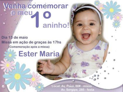 convites de aniversario de 1 ano personalizados com foto do bebe