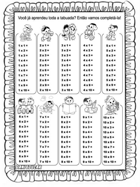 tabuada turma da monica 460x613 - Tabuada de MULTIPLICAÇÃO para imprimir grande