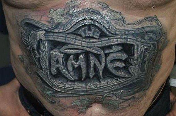 tatuagem masculina para barriga masculina em 3d