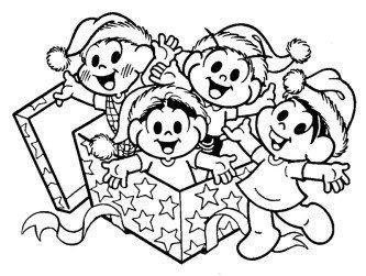 melhores desenhos de natal para imprimir turma da monica