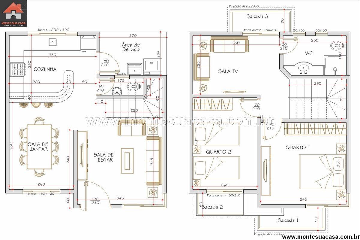 Modelos de planta de sobrado com 3 quartos e su te decor - Plantas para dormitorio ...