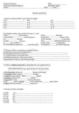 exercícios de Inglês para iniciantes para imprimir