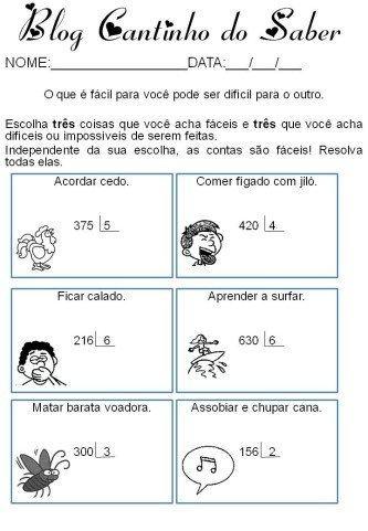 exercícios de matemática divisão