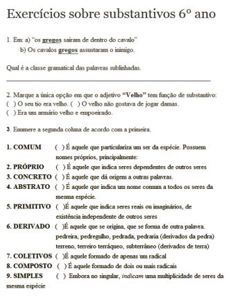 exercícios substantivos 6 ano