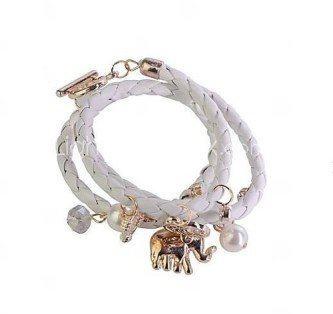 pulseira de couro feminina trançada branca