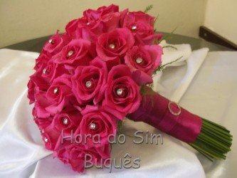 belo buquê de rosas pink