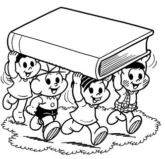desenhos de volta as aulas para colorir turma da monica