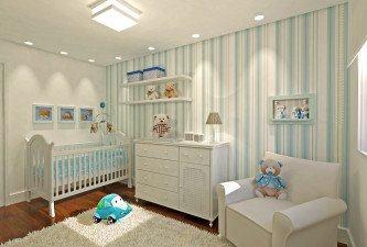 tipo de papel de parede para quarto de bebê azul