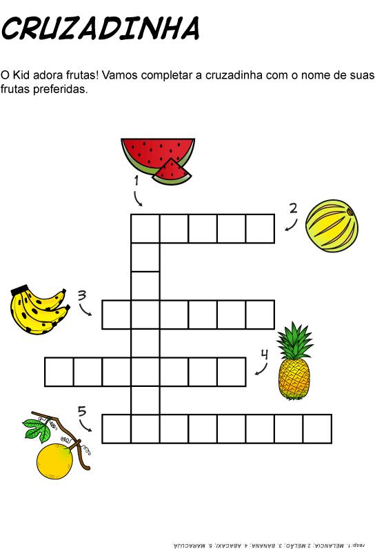 Cruzadinha sobre Animais e sobre Frutas ( para imprimir )